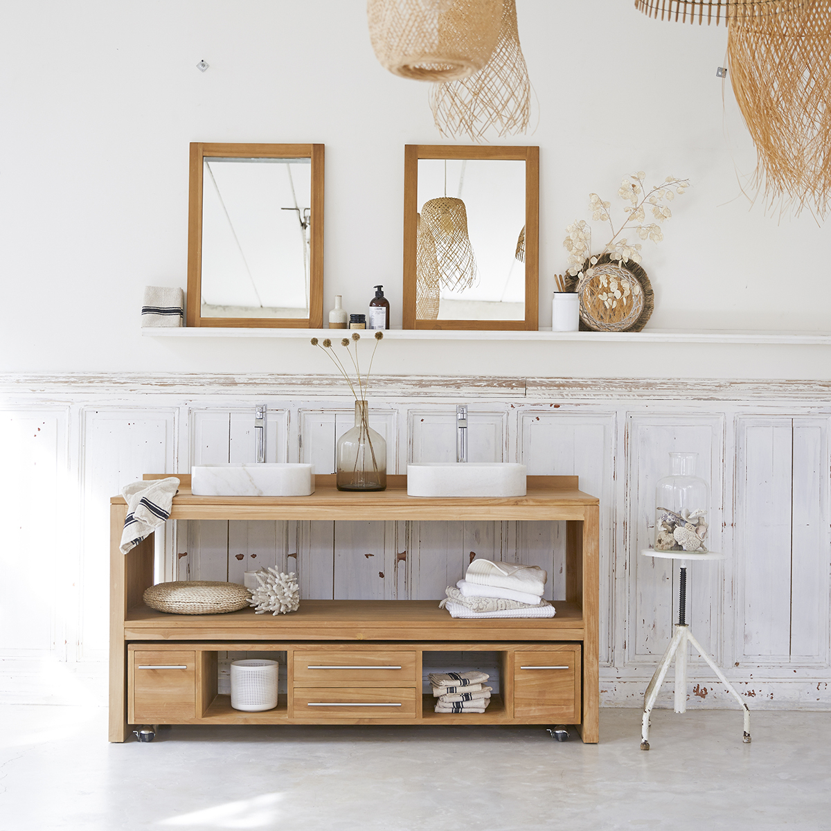 Natural Teak Bathroom Washstand - Layang Duo Furniture avec Tikamoon
