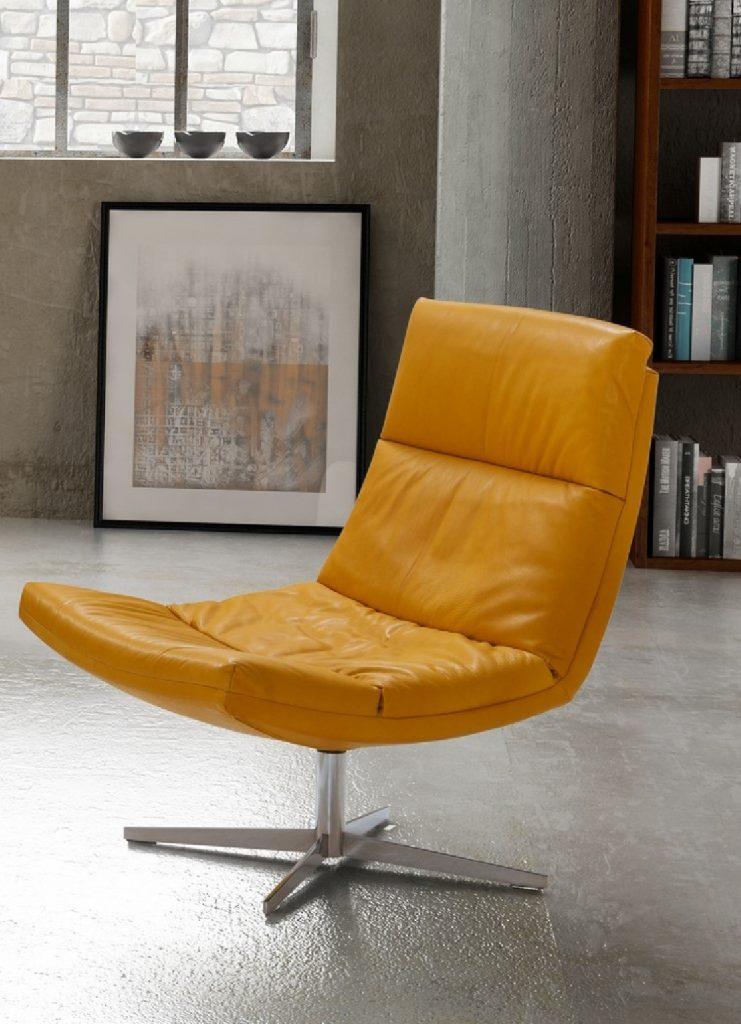Nouveau : Fauteuil Design Cuir Pied Pivotant Allen & Allan intérieur Seanroyale Soldes