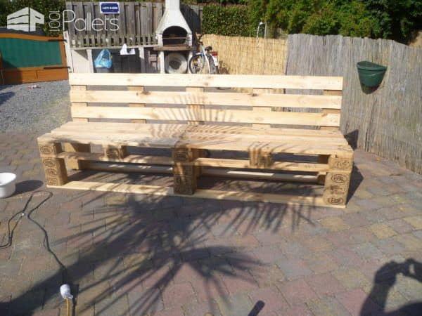 Pallets Garden Bench / Banc De Jardin En Palettes • 1001 dedans Banc En Palette Dossier Incliné