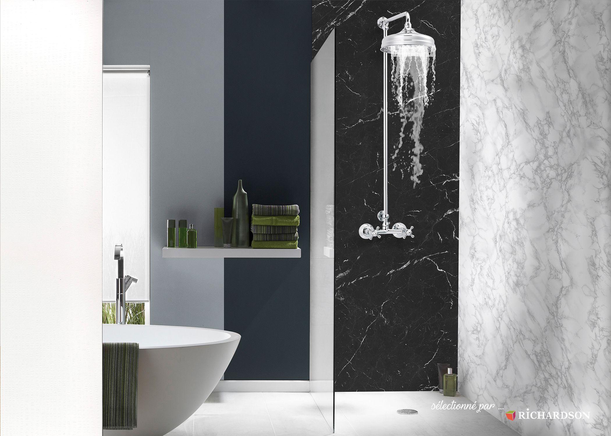 Panneau Mural Effet Marbre, Lazer Decofast Classique Chic dedans Panneau Composite Salle De Bain