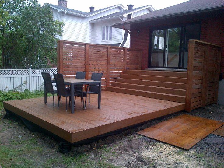 Patio 2 Niveaux En Bois Traité Brun Et Plastique | Patio avec Construire Auvent De Terrasse En Bois
