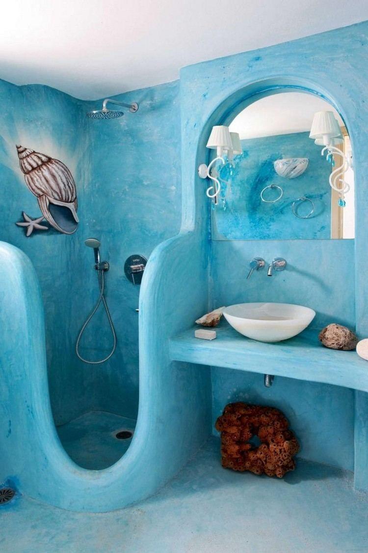 Peinture Salle De Bain Bleu Turquoise Pour Une Ambiance Bord à Idée Peinture Salle De Bain
