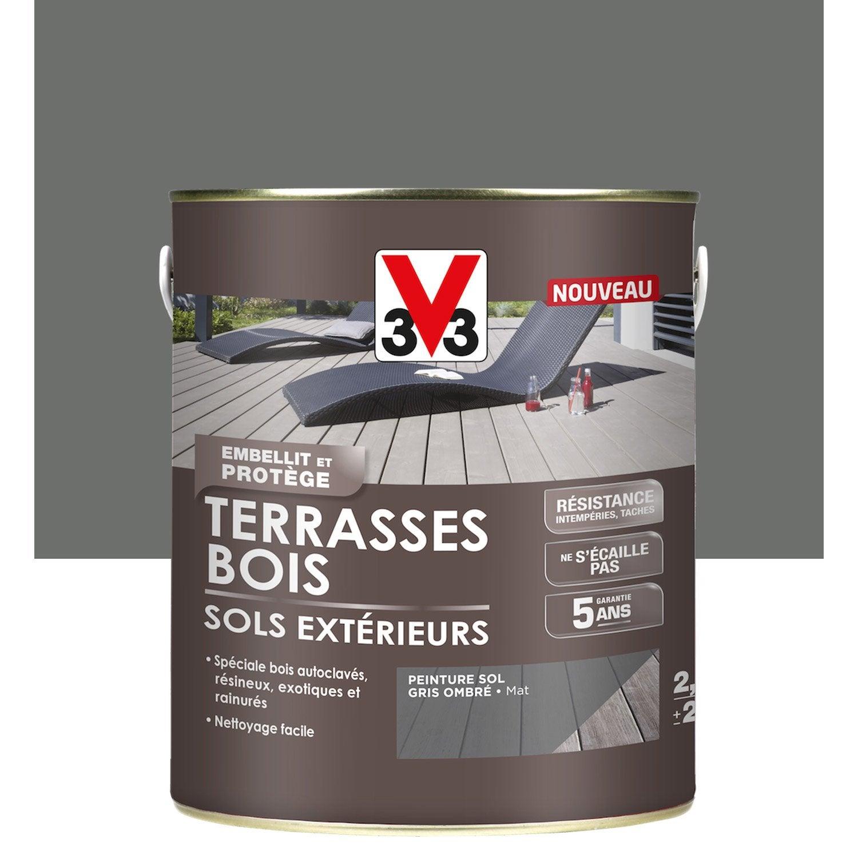 Peinture Sol Extérieur Terrasse Bois V33, Gris Ombré, 2.5L tout Paravent Extérieur Leroy Merlin