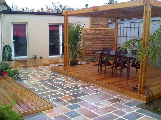 Pergola En Bambou Et Bois Sandha - Exotique - Terrasse Et tout Modele Terrasse
