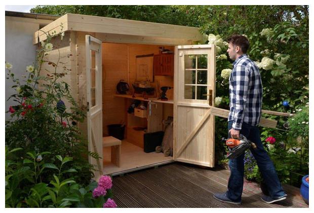 Petit Abri En Bois De Jardin Au Toit Plat - Double Porte serapportantà Abri De Jardin Contemporain