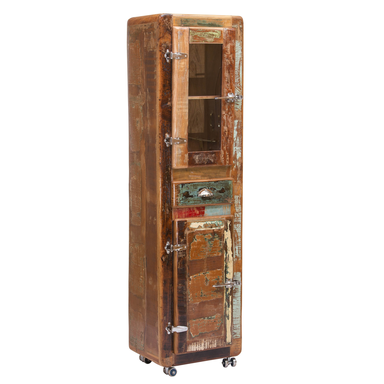 Petit Meuble Cabinet 55X190 Cm Vintage En Bois Recyclé concernant Petit Meuble Avec Tiroir