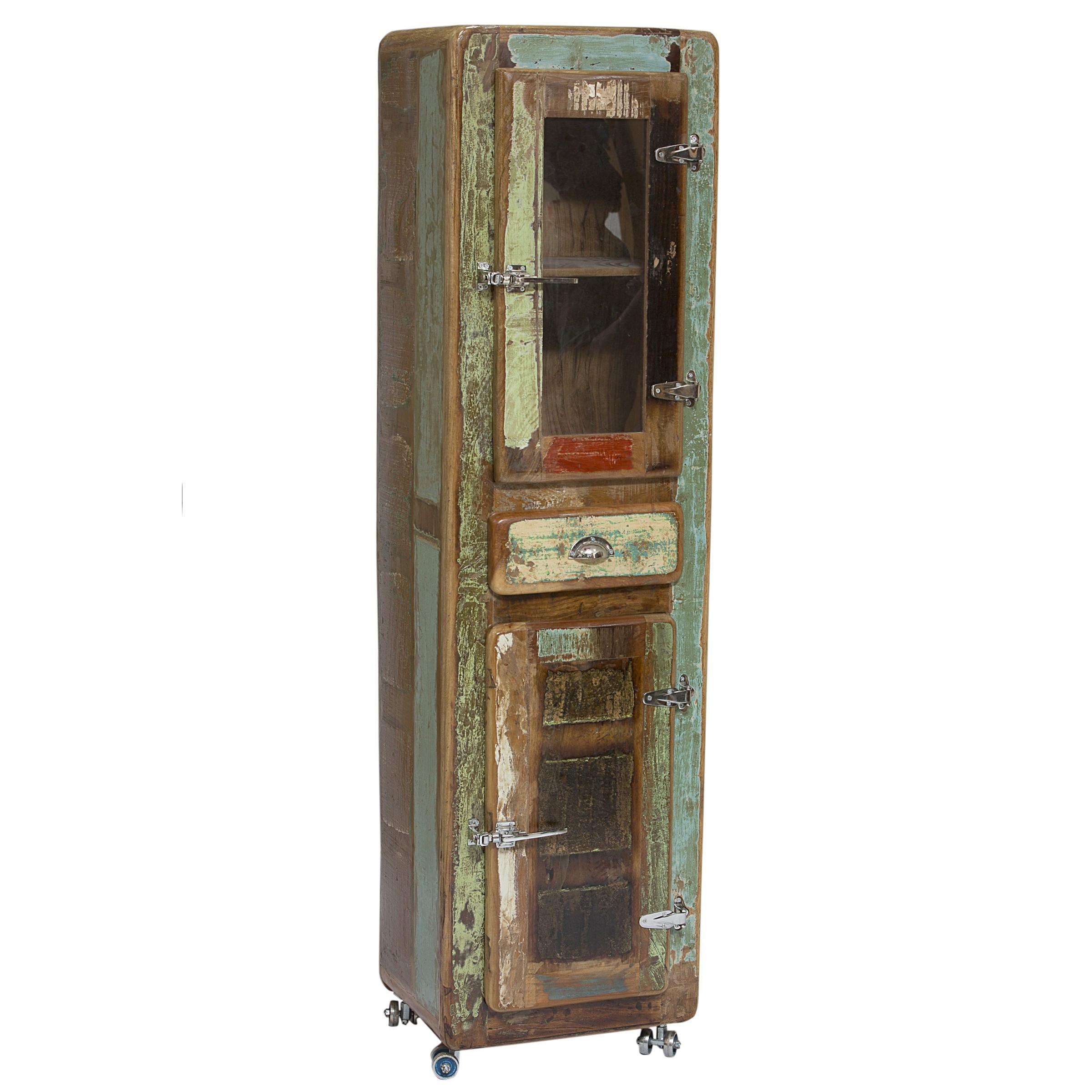 Petit Meuble Cabinet 55X190 Cm Vintage En Bois Recyclé dedans Petit Meuble Avec Tiroir