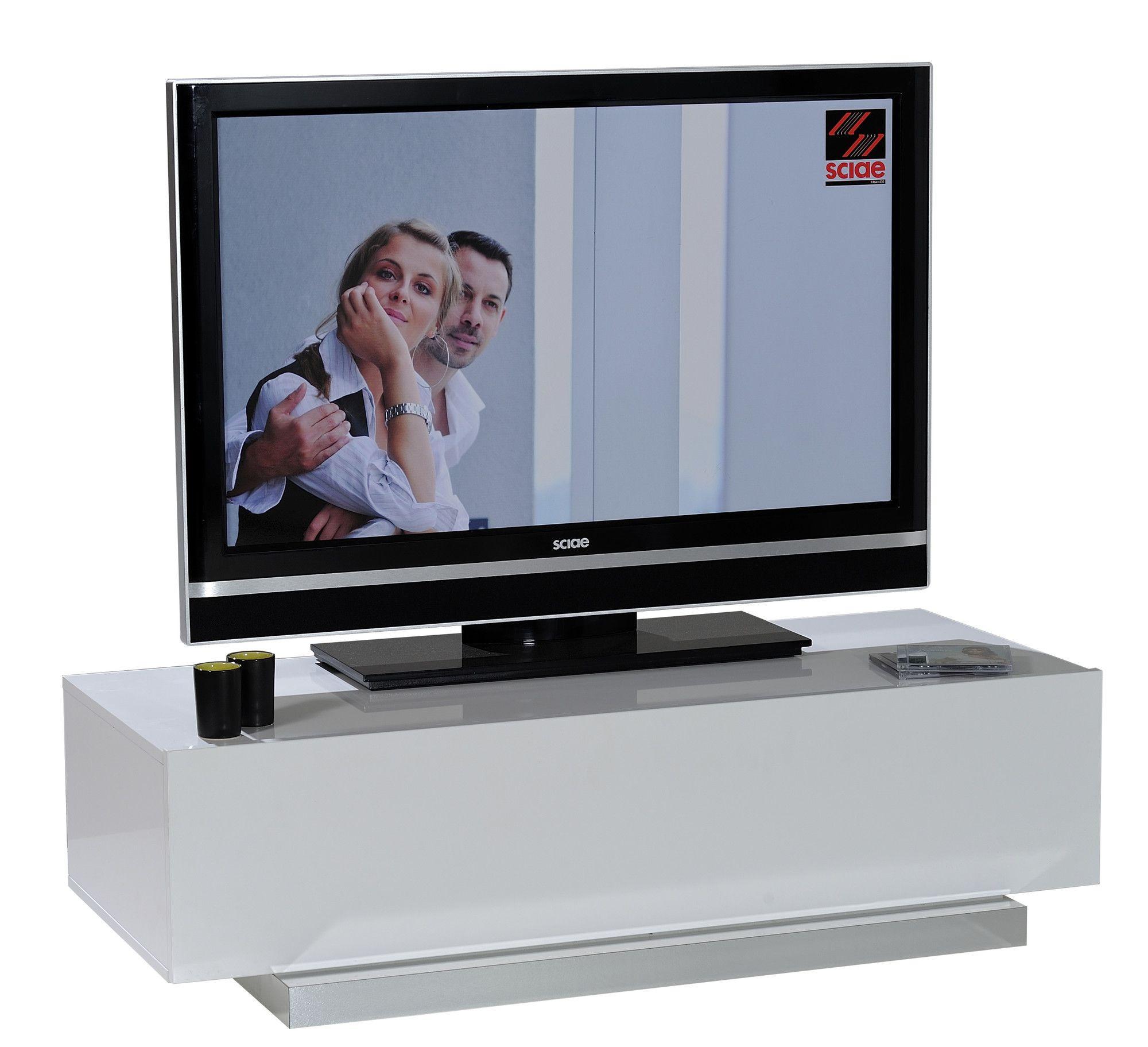 Petit Meuble Tv Blanc Laque Pas Cher dedans Meuble Télé Blanc Laqué