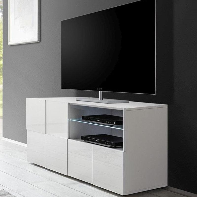 Petit Meuble Tv Pas Cher, Meuble Tv Blanc Laqué Design destiné Meuble Tv Blanc Laqué Pas Cher