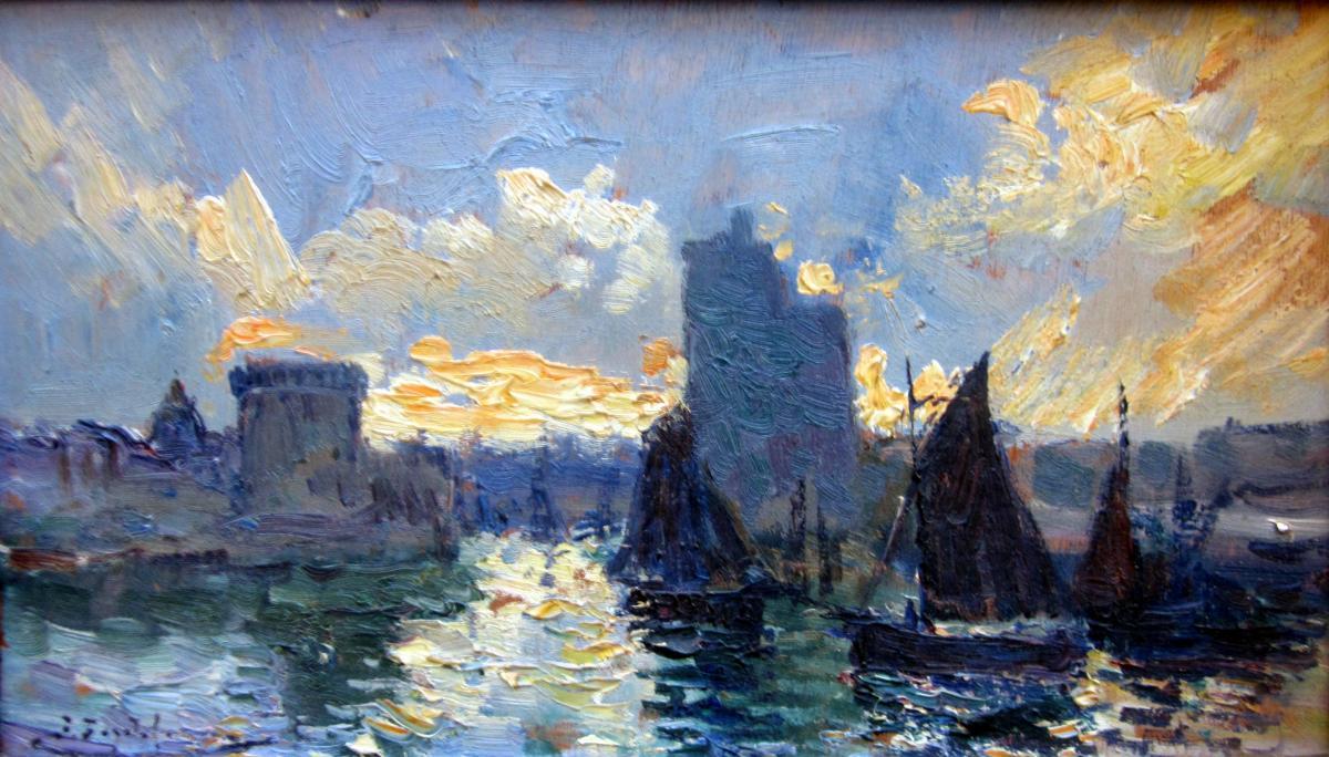 Pierre Faget Germain (1890-1961) Entrance To The Port Of La encequiconcerne Germain Larochelle
