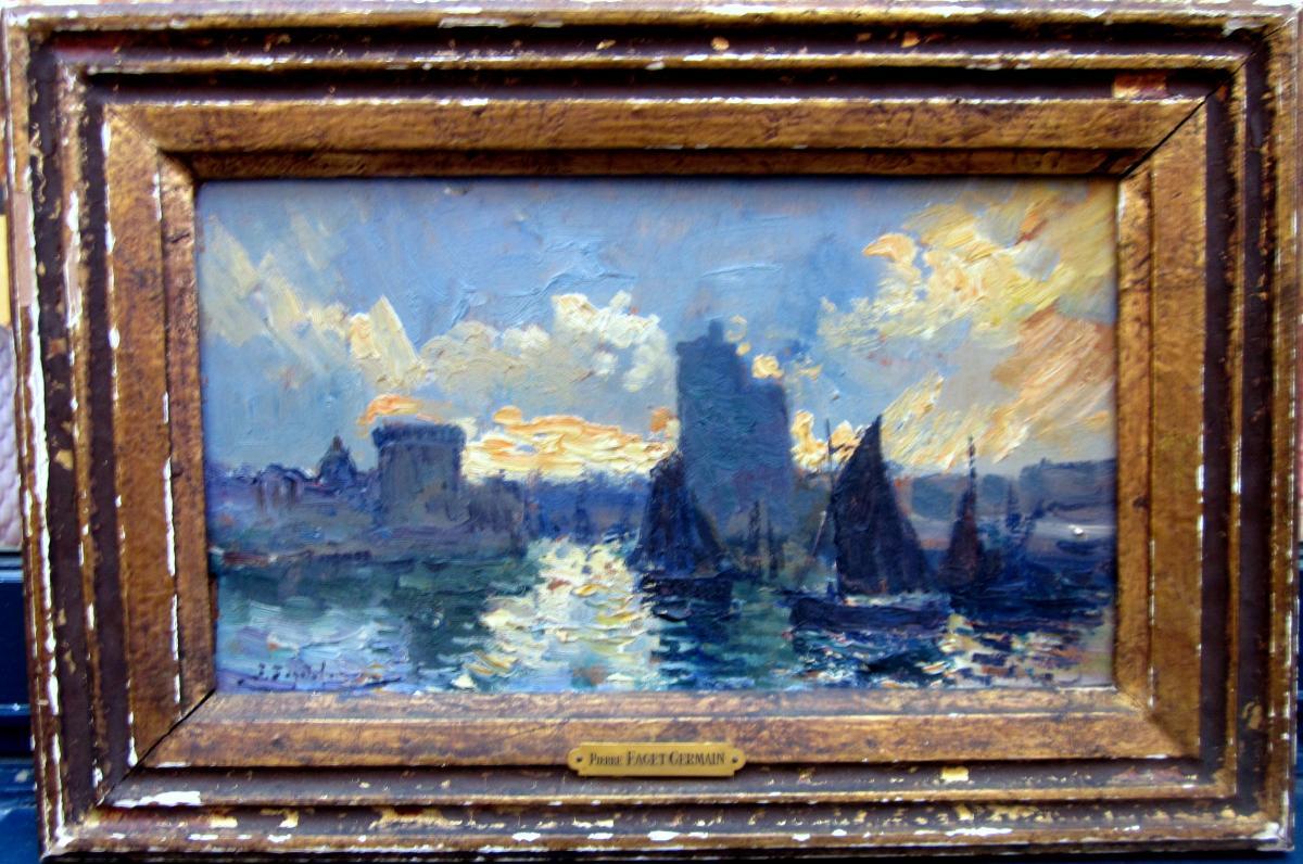 Pierre Faget Germain (1890-1961) Entrance To The Port Of La pour Germain Larochelle
