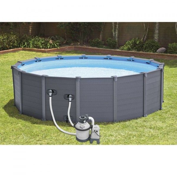 Piscina Tubolare Rotonda Graphite Ø 4,78 X 1,24 M - Intex concernant Kit Habillage Piscine Intex