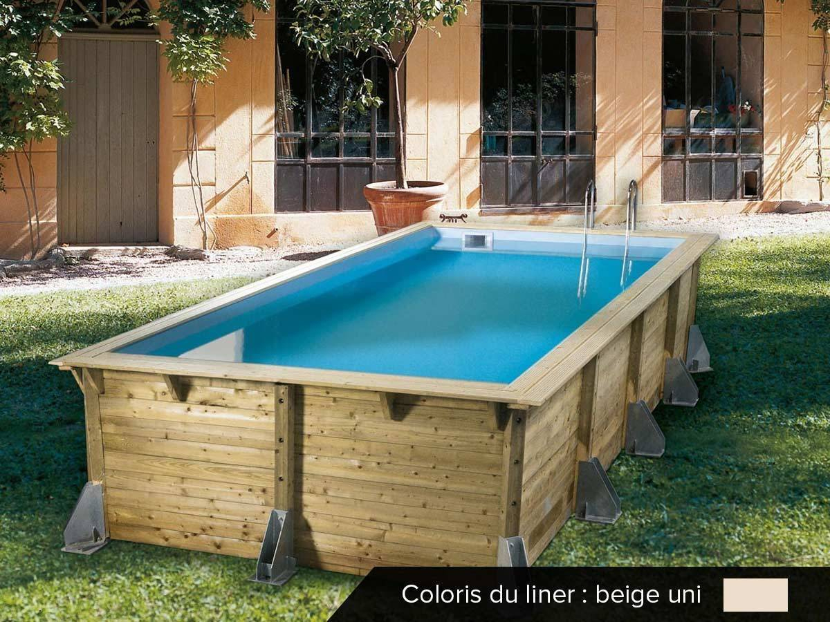 Piscine Bois Pas Cher Azura 5,05 X 3,50 X 1,26 M Ubbink à Piscine En Bois Cora
