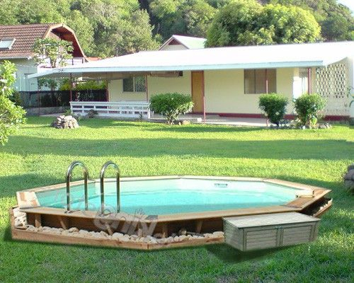 Piscine Bois Tonga Nortland Ubbink Ronde En Kit 430X120Cm avec Pool House En Kit