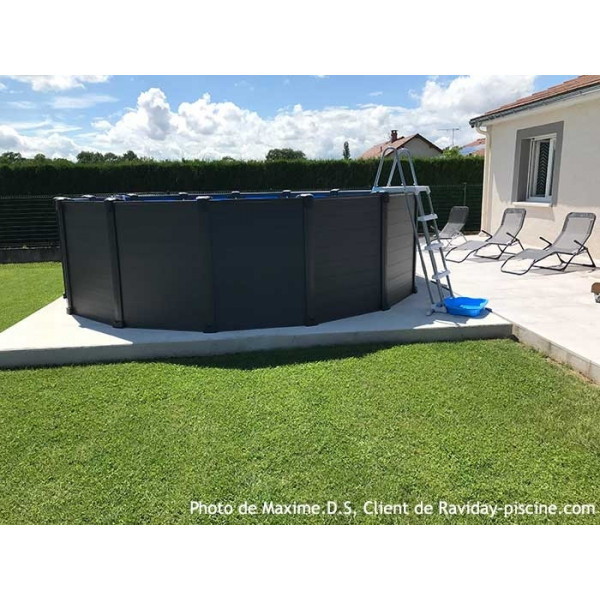 Piscine Intex Graphite 4,78 X 1,24 - Piscine Tubulaire Ronde destiné Kit Habillage Piscine Intex