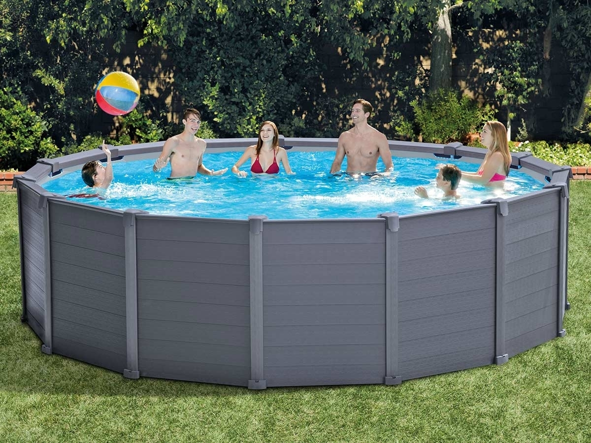 Piscine Tubulaire Intex Modèle Graphite Ronde Ø 4,17 X 1,09 M encequiconcerne Kit Habillage Piscine Intex