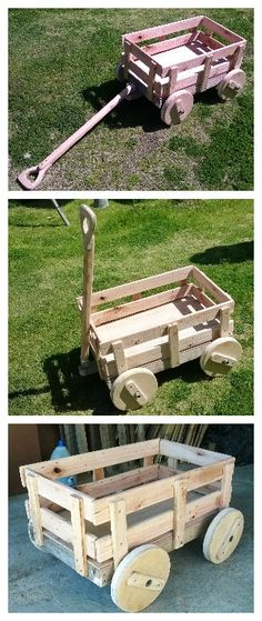 Plan Et Tutoriel : Un Petit Chariot De Bois | Charrette tout Charrette En Palette