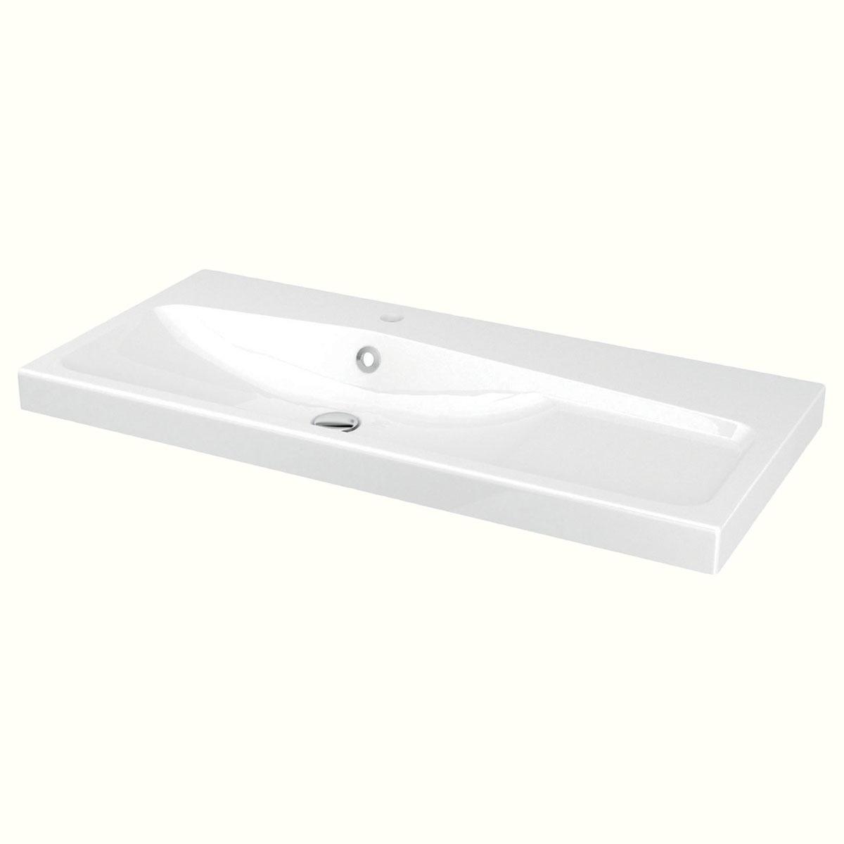 Plan Vasque Céramique L 100 X H 12 Cm - Brico Dépôt tout Vasque 100 Cm 2 Robinets