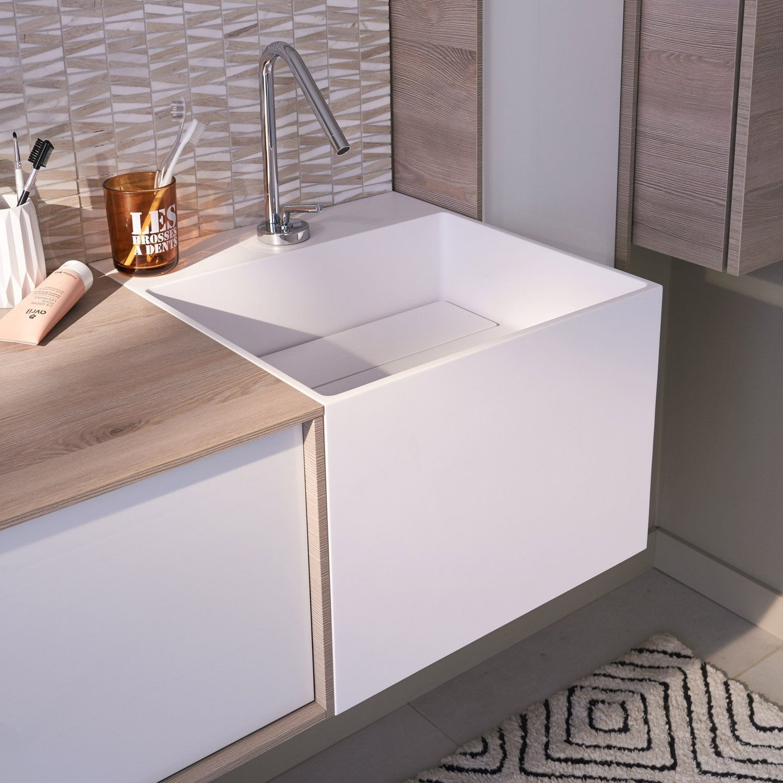 Plan Vasque Simple Cube Résine De Synthèse 45 Cm | Leroy pour Vasque Leroy Merlin