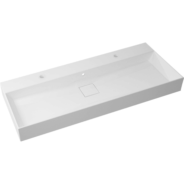 Plan Vasque Simple Pure Marbre De Synthèse 120 Cm | Leroy à Vasque Leroy Merlin