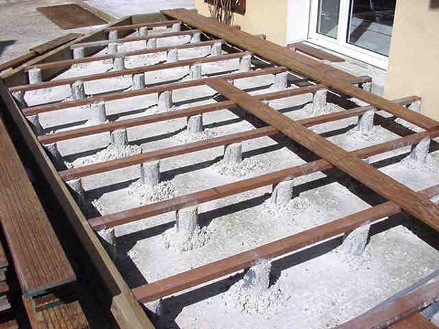 Pose De Terrasse En Bois Sur Plots Pvc - Veranda-Styledevie.fr serapportantà Plot Pvc Pour Terrasse Bois Brico Depot