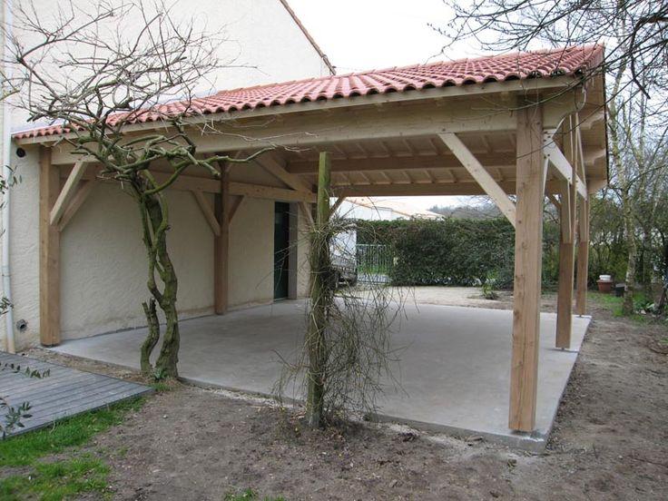 Préau, Auvent, Carport : Constructions Bois - Abri La serapportantà Auvent Terrasse Bois