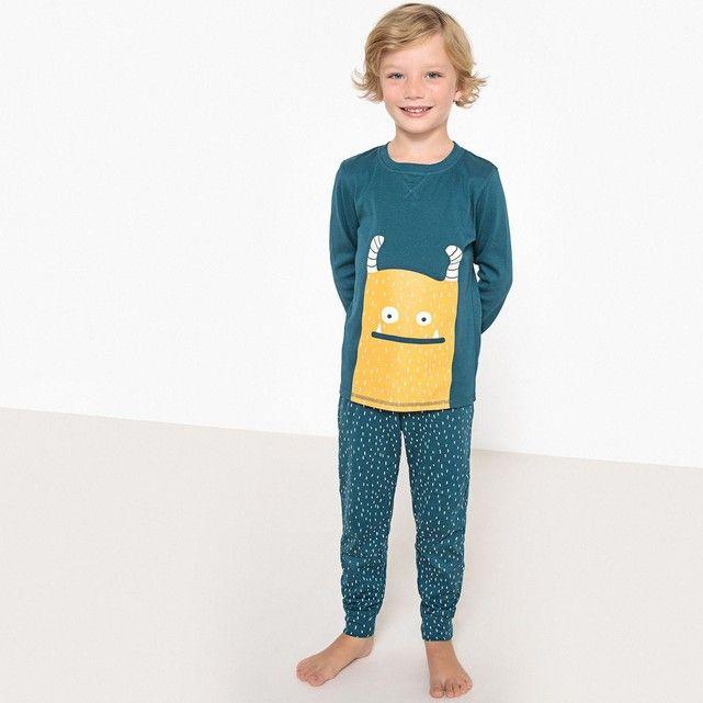 Pyjama Monstre Phosphorescent En Coton 3-12 Ans Bleu pour Robe De Chambre Garçon 12 Ans