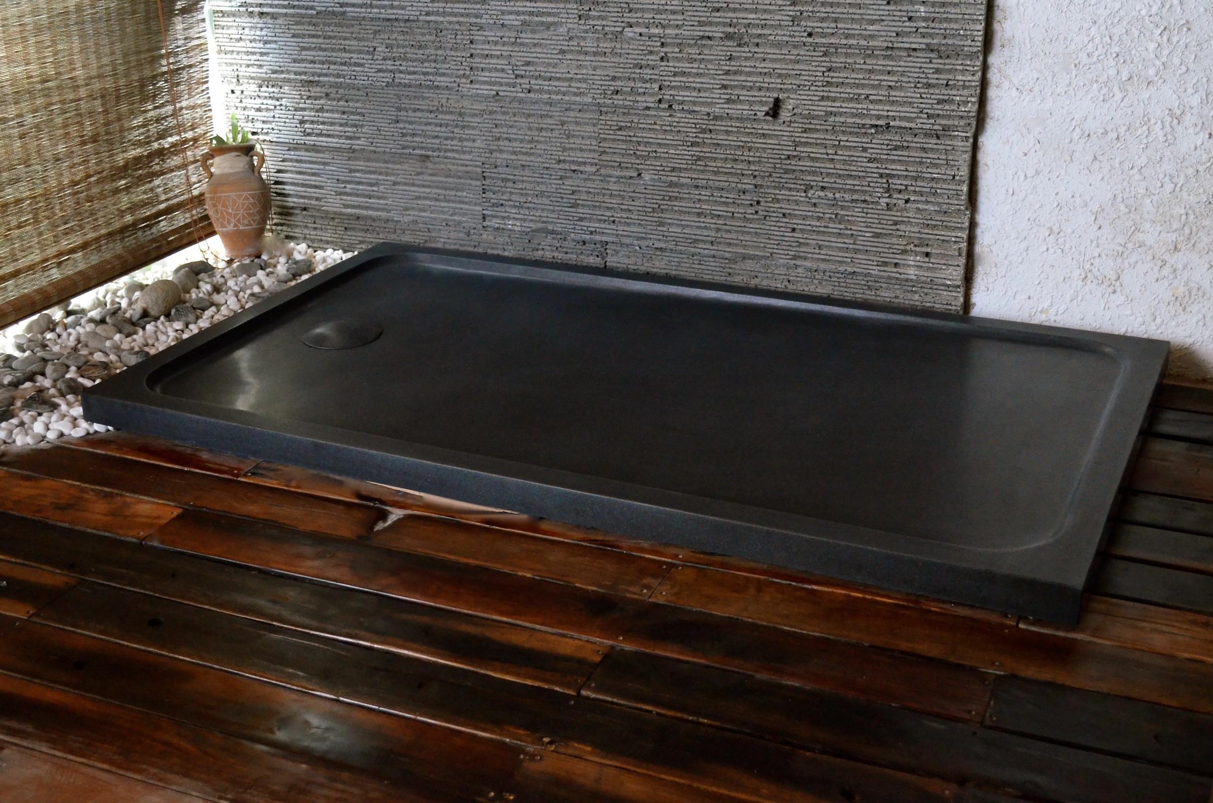 Receveur De Douche En Pierre 120X90 Granit Noir Véritable pour Receveur De Douche 120X90
