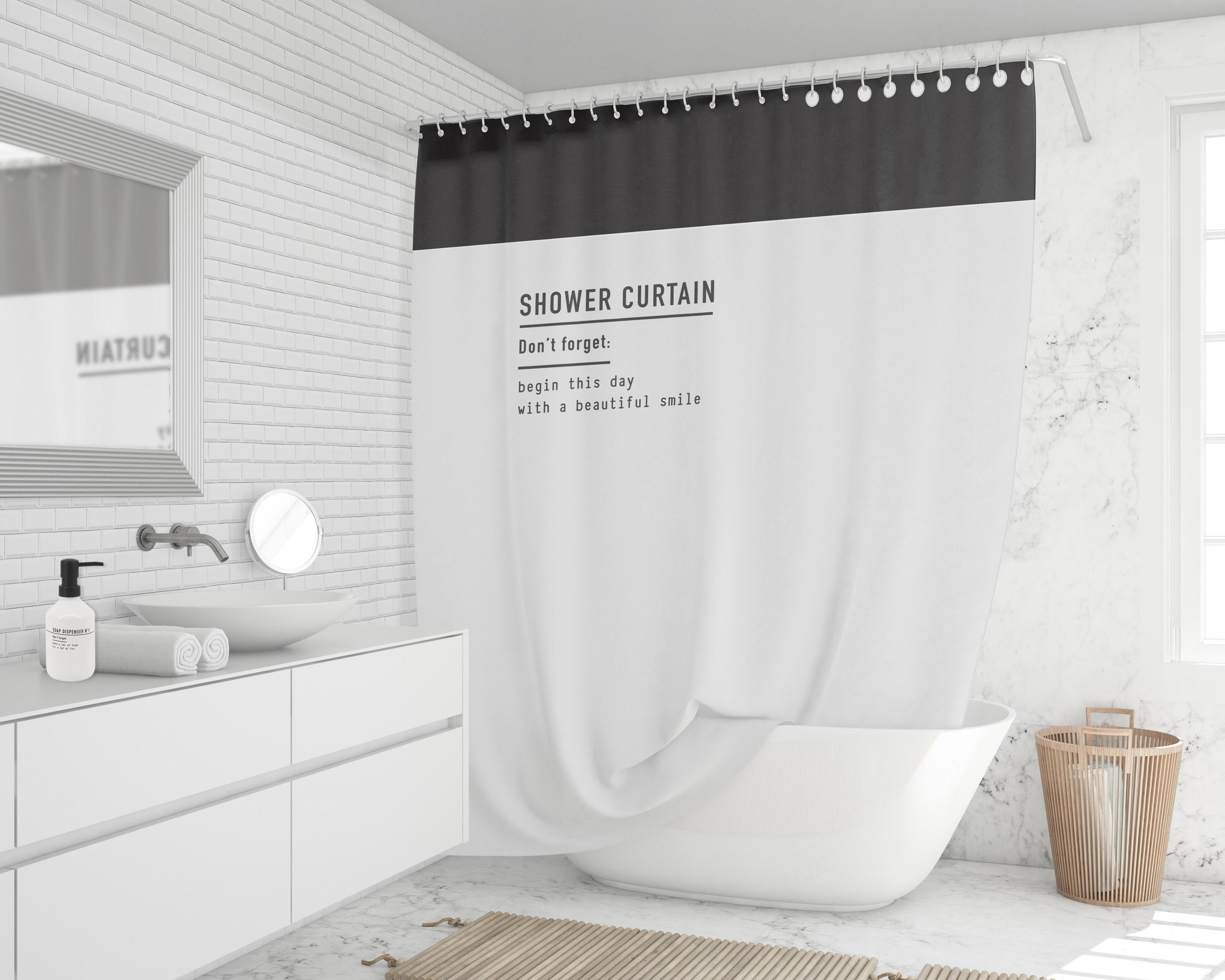 Rideau De Douche En Textile Blanc/noir L.180 X H.200 Cm pour Leroy Merlin Rideau De Douche
