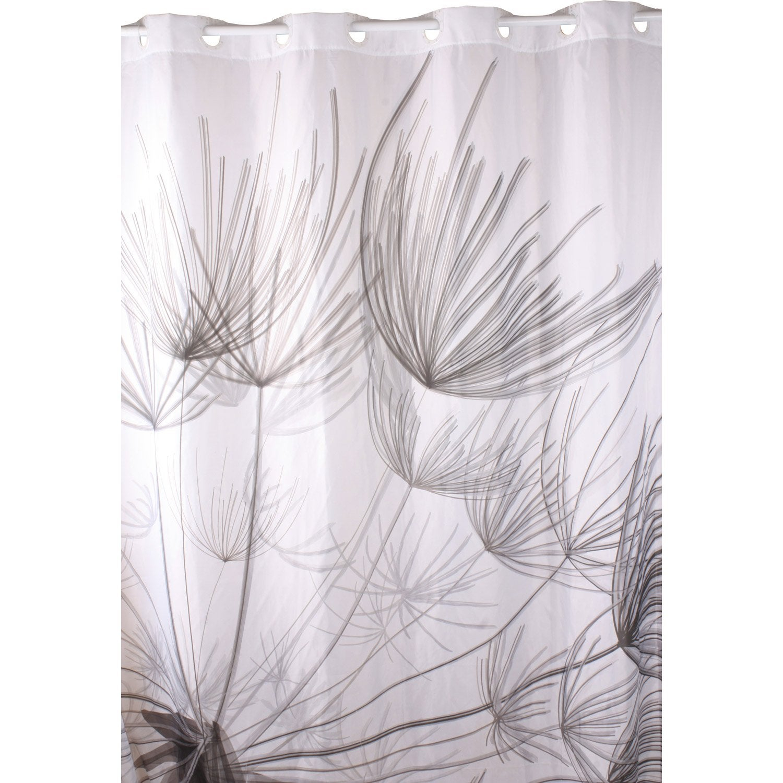 Rideau De Douche En Textile Gris 180X200 Cm Flora Sensea serapportantà Leroy Merlin Rideau De Douche