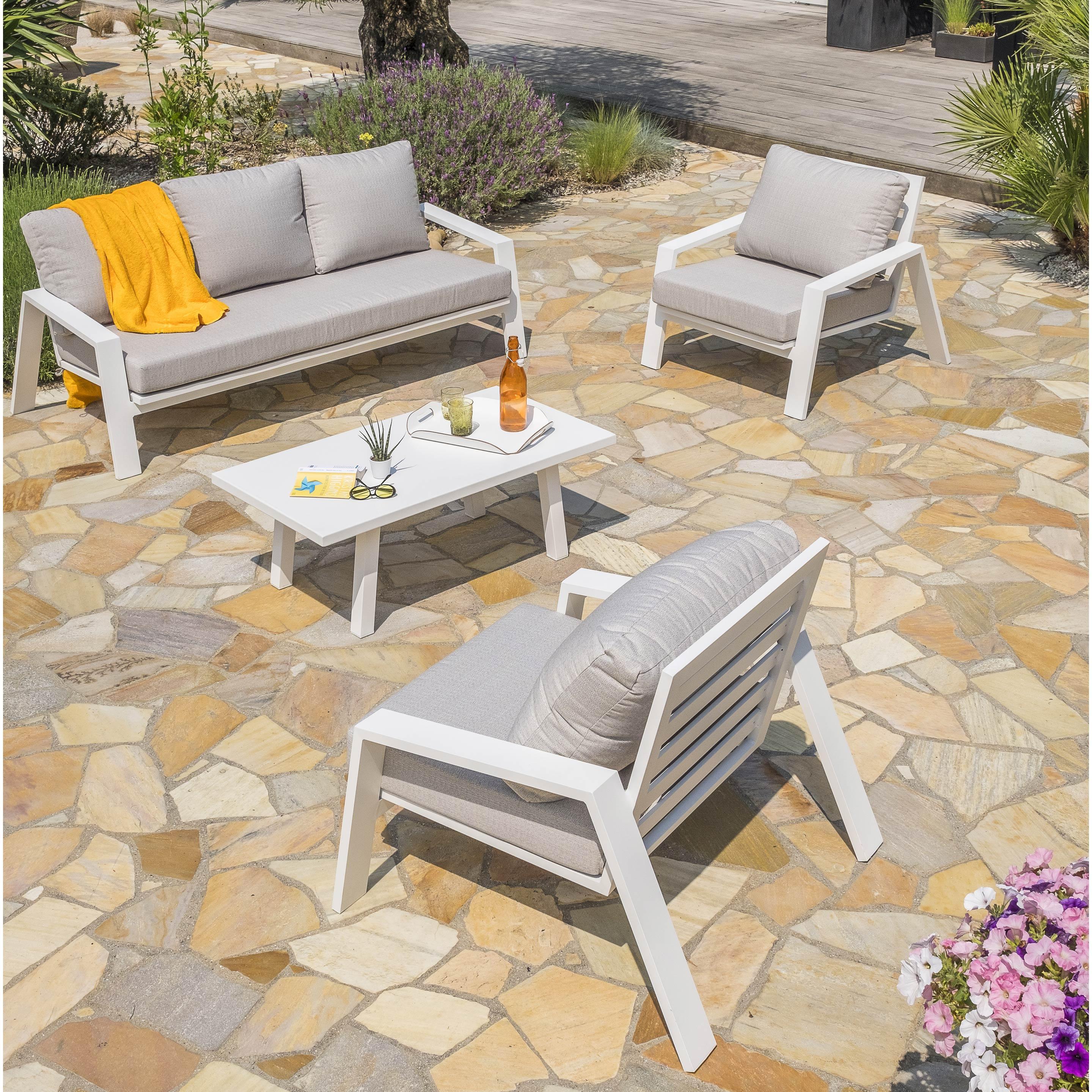 Salon Bas De Jardin Ibiza Aluminium Blanc, 5 Personnes pour Salon De Jardin Blanc