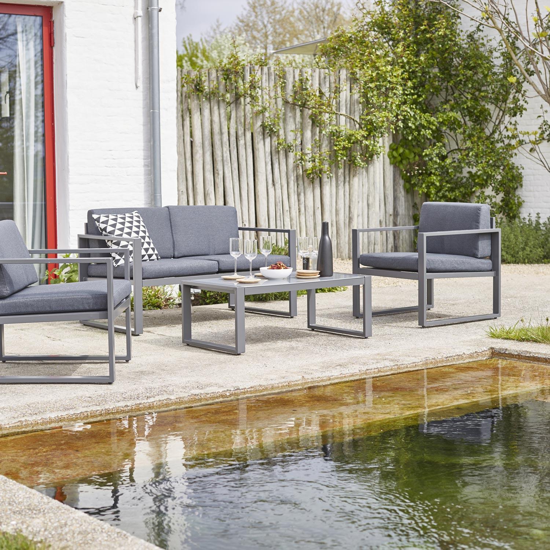 Salon Bas De Jardin Lisboa Aluminium Gris, 4 Personnes tout Salon De Jardin Solde Leroy Merlin
