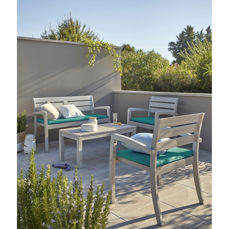 Salon Bas De Jardin Portofino Bois Naturel, 4 Personnes destiné Salon De Jardin Solde Leroy Merlin