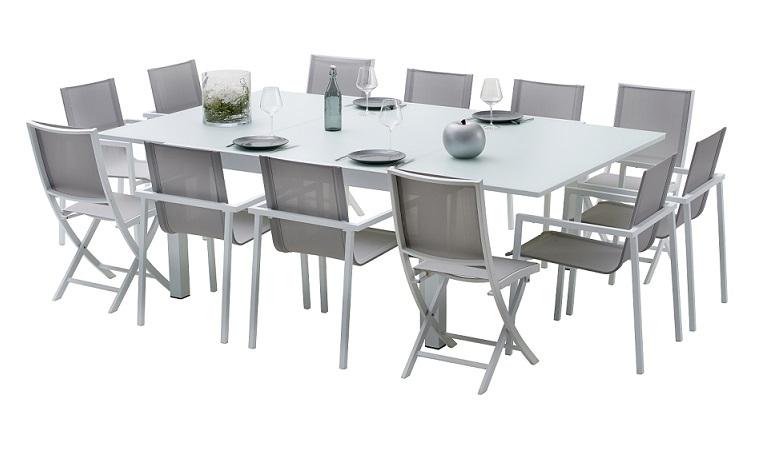 Salon De Jardin 12 Personnes En Aluminium Blanc Et Plateau à Table Jardin 10 Personnes
