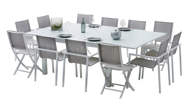 Salon De Jardin 12 Personnes En Aluminium Blanc Et Plateau intérieur Table De Jardin 10 Personnes