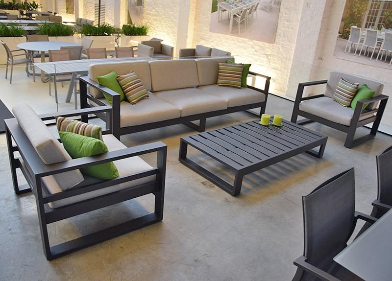 Salon De Jardin 5 Places En Alu Ivoire Azuro concernant Salon De Jardin En Soldes