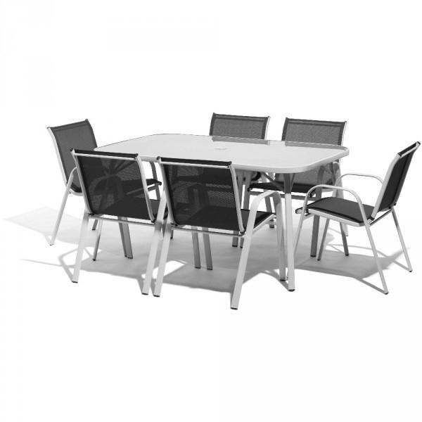 Salon De Jardin 6 Personnes Métal Gris - Table / Chaise destiné Ensemble Repas Oslow Gifi