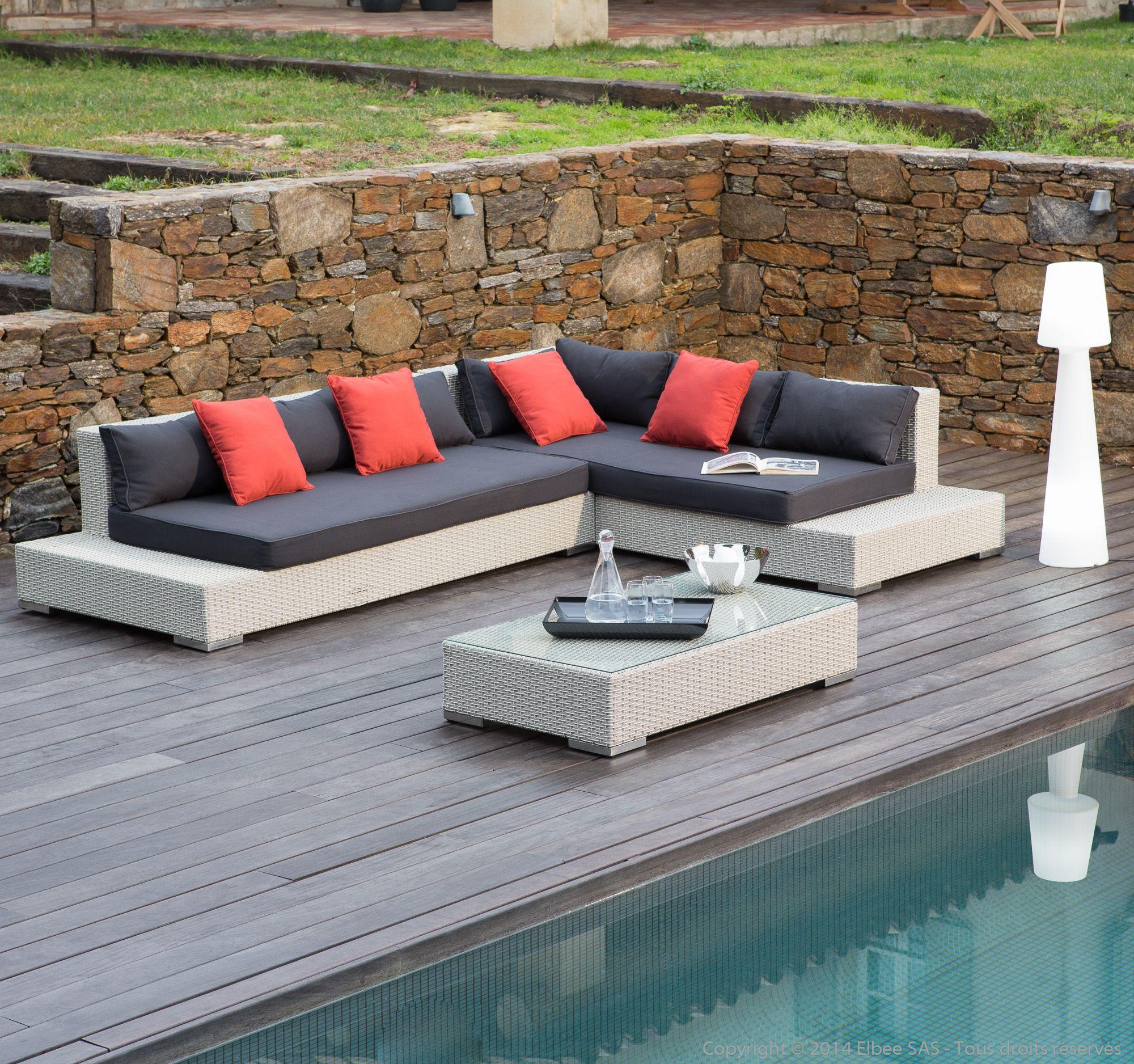 Salon De Jardin 6 Places : Canapé D'Angle + Table Basse En destiné Salon De Jardin En Resine