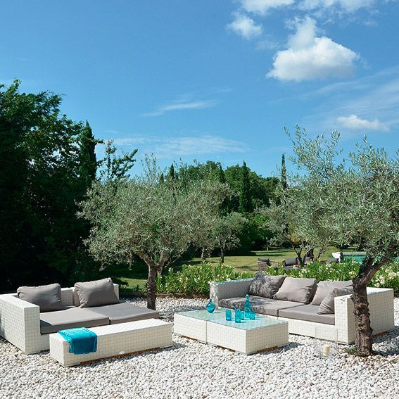 Salon De Jardin Agadir Blanc/Gris - 7 Places - Salon De destiné Salon De Jardin Blanc