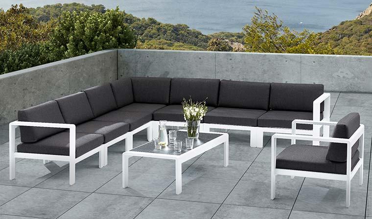 Salon De Jardin Bas D'Angle Design 8 Places Blanc Et Gris tout Salon Jardin