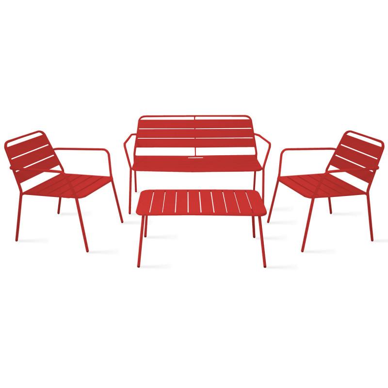 Salon De Jardin Bas En Métal Rouge 4 Places | Palavas avec Salon De Jardin Lumineux