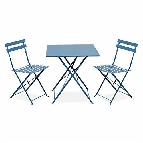 Salon De Jardin Bistrot Pliable – Emilia Carré – Table encequiconcerne Salon Jardin Pliable