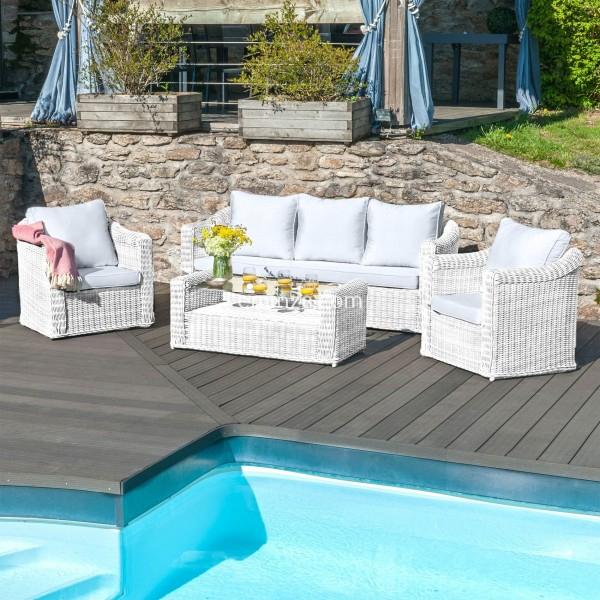 Salon De Jardin Calvi Blanc/Gris Clair - 5 Places - Salon pour Adov Salon De Jardin