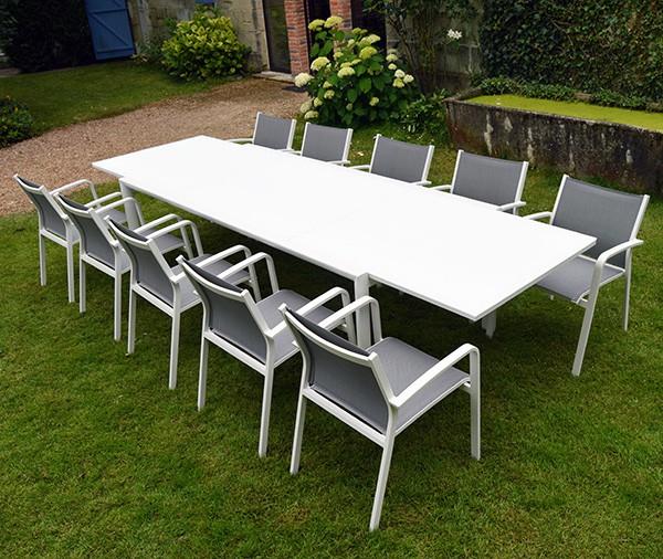 Salon De Jardin En Aluminium Table + 10 Fauteuils - 10 serapportantà Table Jardin 10 Personnes
