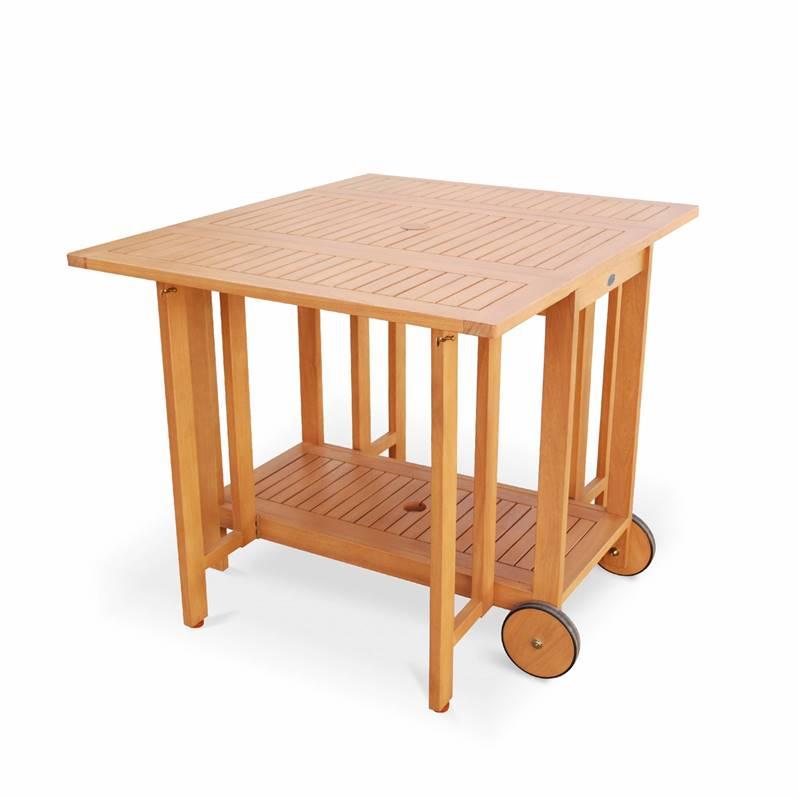Salon De Jardin En Bois Pliable - Merida - Table 100/45Cm serapportantà Salon Jardin Pliable