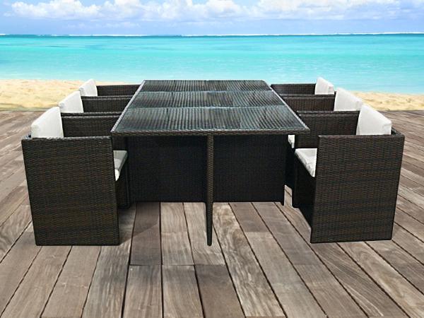 Salon De Jardin En Résine Tressée Marron - Table Plateau concernant Table Et Chaise De Jardin En Resine