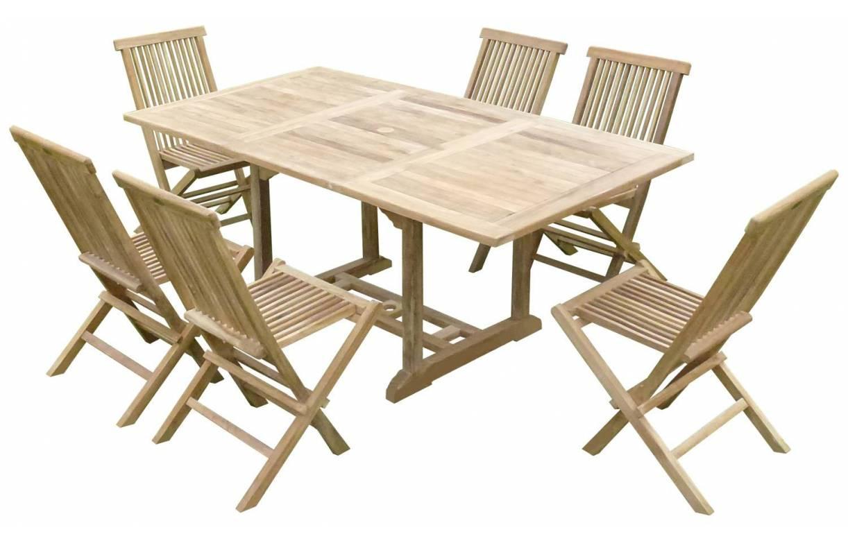 Salon De Jardin En Teck Avec Table Et Chaises Pliantes destiné Table De Jardin En Bois Avec Chaises