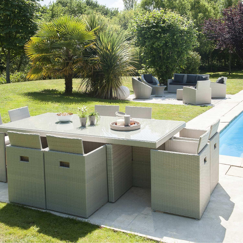 Salon De Jardin Encastrable Résine Tressée Gris 1 Table pour Solde Salon De Jardin Leroy Merlin
