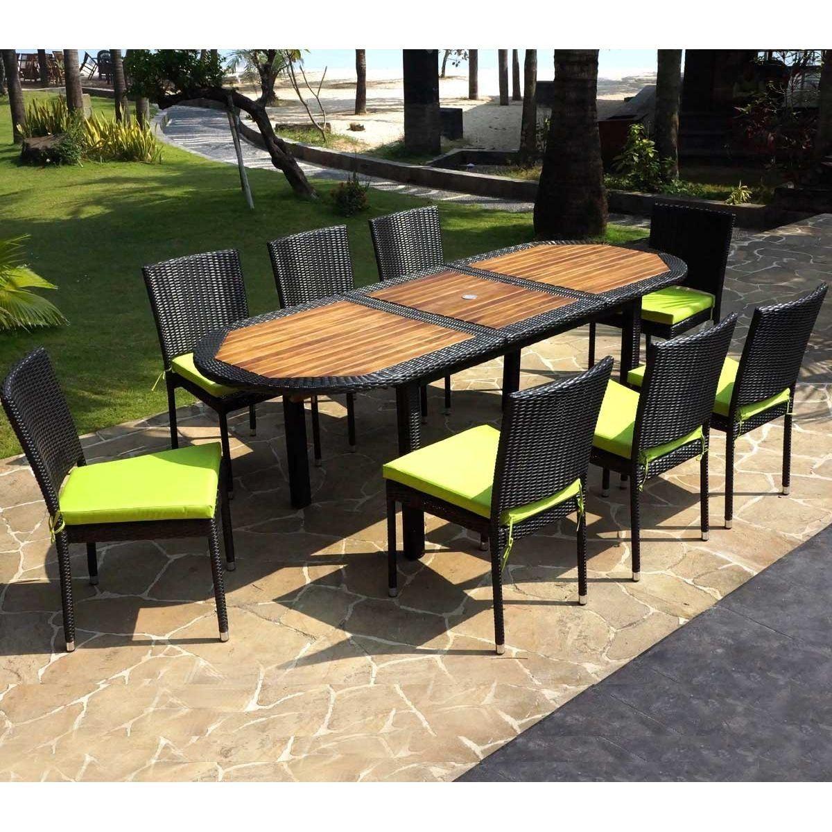 Salon De Jardin Ensemble Table Teck Et Résine Tressée Et 8 destiné Chaise De Jardin Auchan