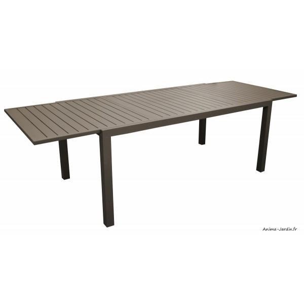 Salon De Jardin Équipé, Table Rectangulaire Solem, Café encequiconcerne Salon De Jardin Aluminium Pas Cher